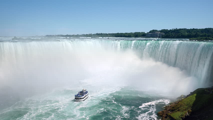 Niagara Falls, tourist boat in front of Horseshoe waterfall on the border of US and Canada.