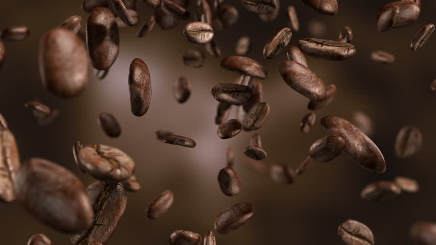 High quality animation video of falling coffee beans-loopable background in slow motion in 4K