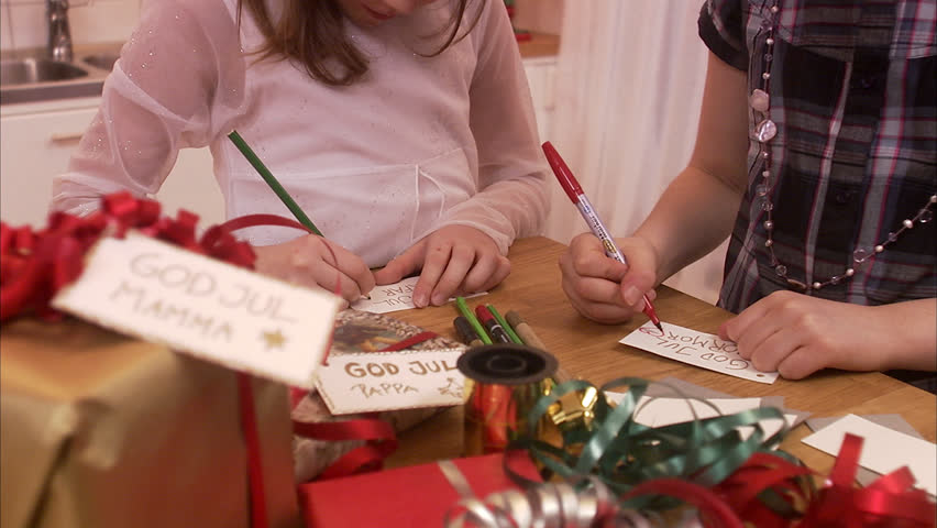 Girls making Christmas cards, Sweden.