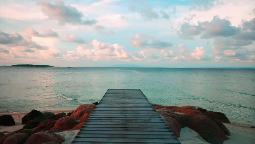 Wooden pier at the beach in the morning light | Shutterstock HD Video #2429519
