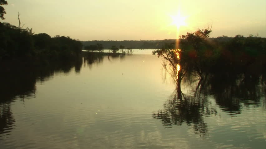Sunset Above River Surface One Third Stock Footage Video - What is the third largest river in the world