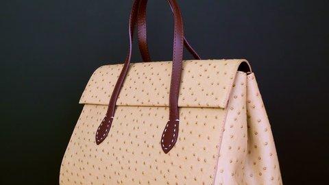Handbag on black background. Concept for website ladies' accessories - no logo, no name, no brand