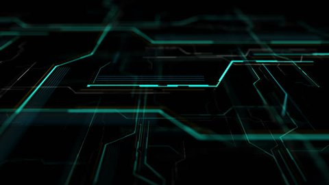 Futuristic HUD display, virtual touch user interface in flat design. Moving lines, abstract HUD user interface. Abstract background with animated shapes of spline. Camera moving in left.