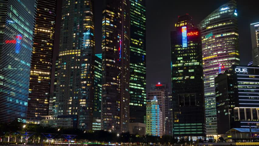 SINGAPORE - CIRCA JAN 2015: Night city. Business center. Hyperlapse shot | Shutterstock HD Video #24330749