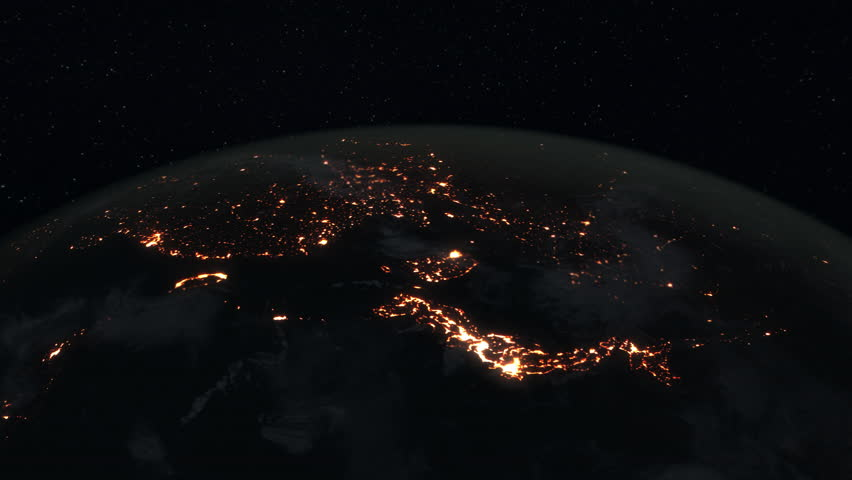 Loopable: Earth Globe. Simulated orbital space flight over the surface of the night planet Earth (South America, Japan, Russia, China, India, Arab World, Europe and Africa). (av36033c)