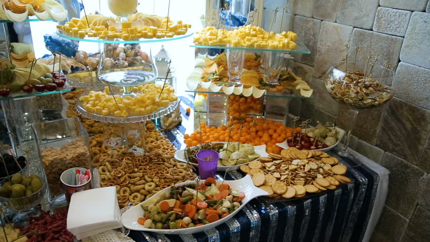 Delicious Wedding Reception Candy Bar Stock Footage Video 100