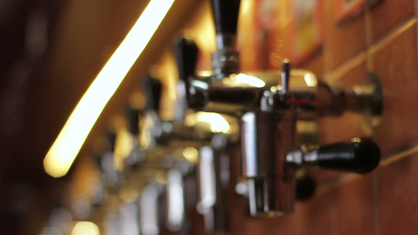 Beer equipment in a pub. Control of the beer spill. Close up