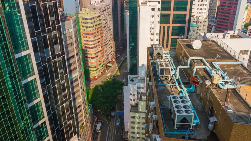 Hong kong city street summer day rooftop panorama 4k time lapse china | Shutterstock HD Video #24362399