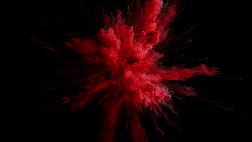 Cg animation of red powder explosion on black background. Slow motion movement with acceleration in the beginning. Has alpha matte | Shutterstock HD Video #24364163