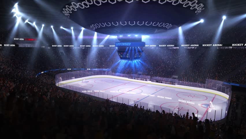 Hockey court with people fan. Sport arena. Ready to start championship. 3d render. Moving lights  | Shutterstock HD Video #24364988