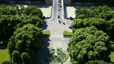 Aerial Angel of Peace footage/Aerial footage of the famous Friedensengel located in Munich and shot in ultra HD.