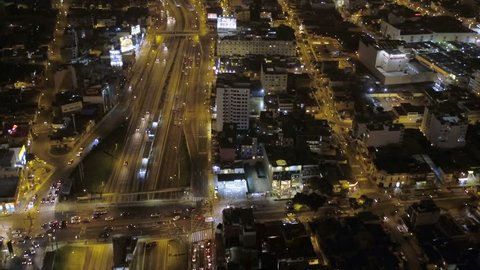 Lima Peru Aerial v27 Flying low over Miraflores area at night looking down. 12/15