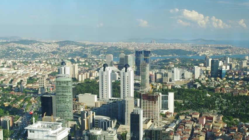 Aerial view of modern buildings and Bosphorus strait in Istanbul, Turkey. | Shutterstock HD Video #2439161