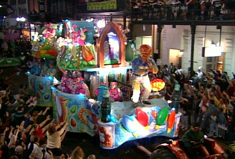 NEW ORLEANS - Circa 2002: Float in a Mardi Gras parade in New Orleans in 2002.