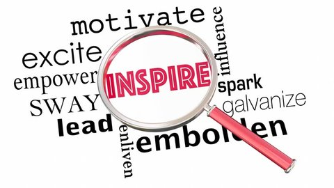 Inspire Motivate Excite Empower Magnifying Glass Collage Words 3d Animation