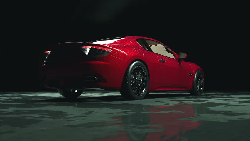 Luxury Red Sport Car With Water Drops. Photorealistic 4K Animation.   4K  Stock Video