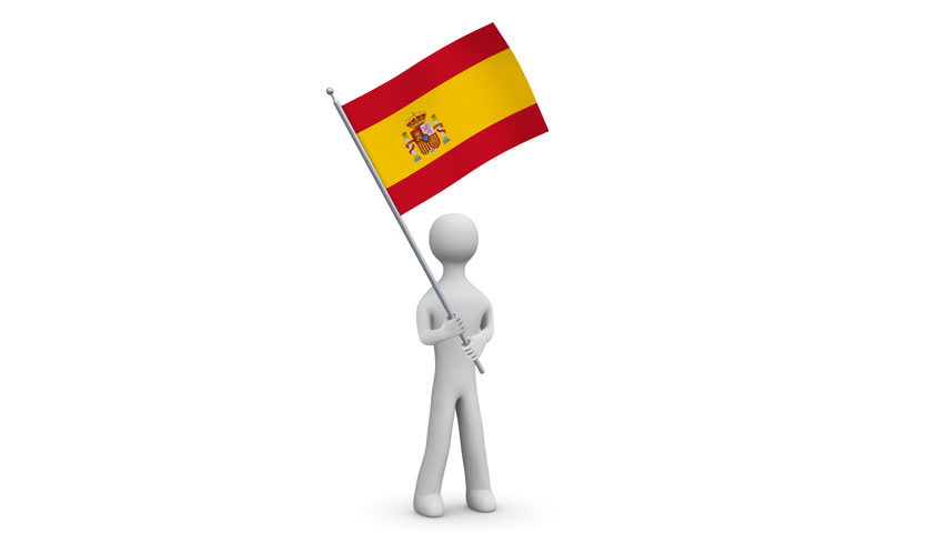 Spain waving flag. 3d Man holding and waving Spanish flag on transparent background. Loop. Alpha channel. 4K.