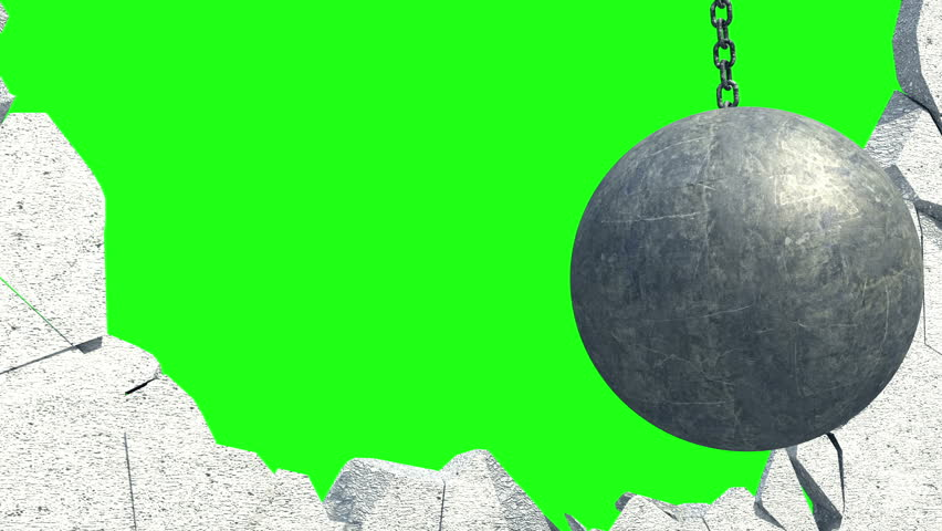 Metallic Wrecking Ball Shattering The White Wall. Green Screen. 3D Animation.