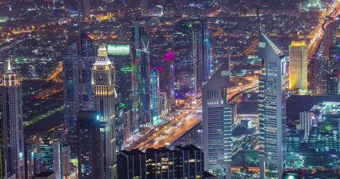 Time lapse video of Dubai Business City Downtown  in Dubai Creek on Sheikh Zayed Road. United arab emirates