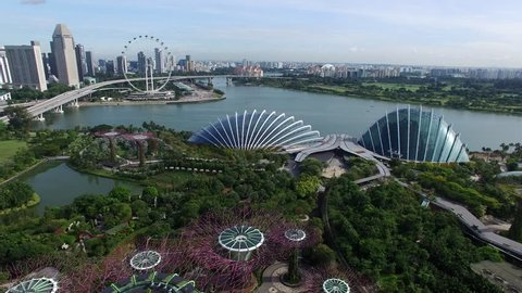 Singapore,Singapore - October 15, 2016 : Aerial view of Garden by the Bay from drone at Marina Bay, Singapore