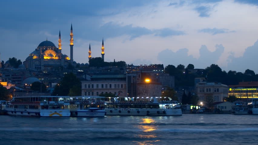 ISTANBUL, TURKEY - MAY 22: Panning time lapse of the Suleymaniye Mosque in the late evening on May 22, 2012 in Istanbul, Turkey. It is the second largest mosque in Istanbul and can accommodate more then 5,000 visitors.