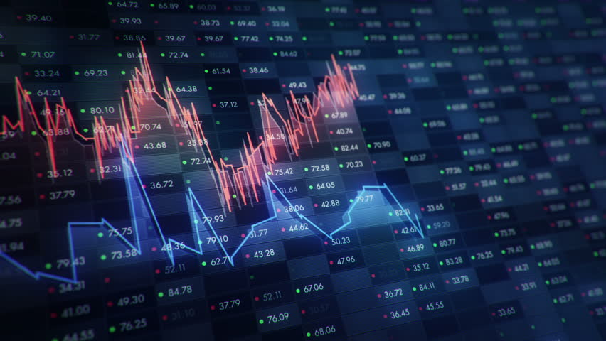 Abstract background with animation of growth graph of stock market on screen of trading board with abstract quotes tickers, words about business or technology, binary code. Animation of seamless loop. | Shutterstock HD Video #24538931