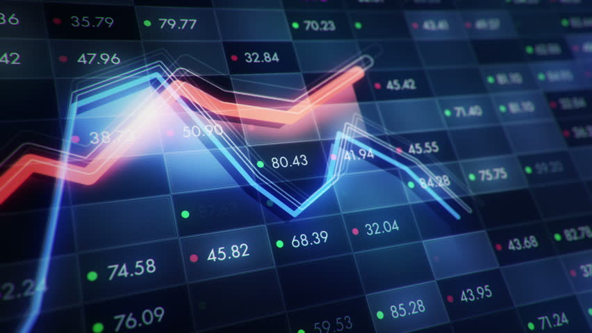 Abstract background with animation of growth graph of stock market on screen of trading board with abstract quotes tickers, words about business or technology, binary code. Animation of seamless loop. | Shutterstock HD Video #24538964