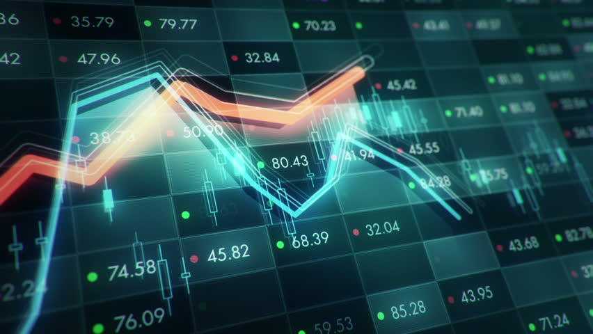 Abstract background with animation of growth graph of stock market on screen of trading board with abstract quotes tickers, words about business or technology, binary code. Animation of seamless loop. | Shutterstock HD Video #24539228
