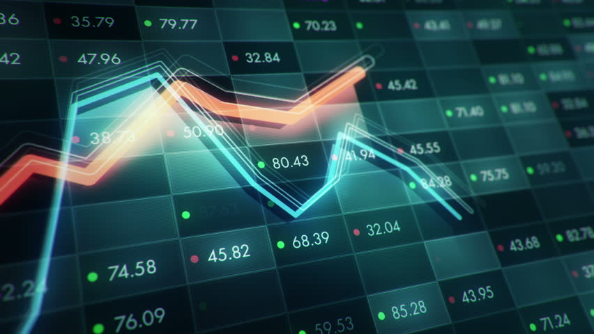 Abstract background with animation of growth graph of stock market on screen of trading board with abstract quotes tickers, words about business or technology, binary code. Animation of seamless loop. | Shutterstock HD Video #24539294