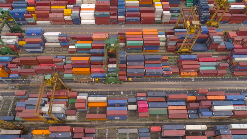 Many containers in industrial port of Singapore Aerial