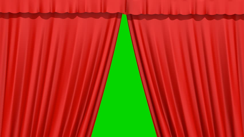 The Curtain Opens And Closes On A Green Background   HD Stock Footage Clip