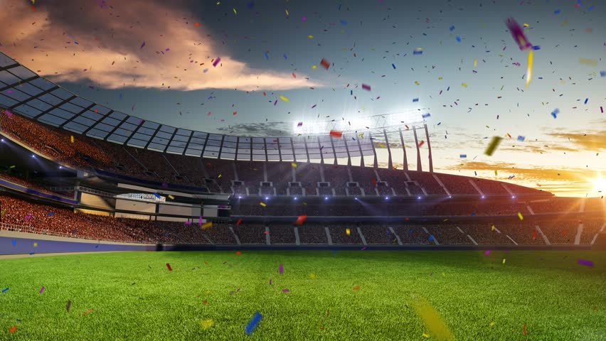 stadium Moving lights, animated flash  with people fans. 3d render illustration cloudy sky. Confetti and tinsel #24593519