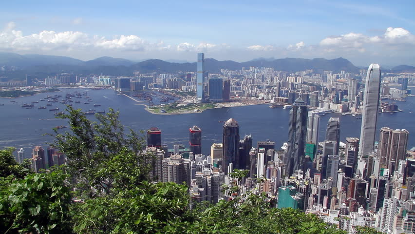 Hong Kong skyline - Central District, Victoria Harbor, Victoria Peak, Hong Kong Island and Kowloon, Hong Kong.
