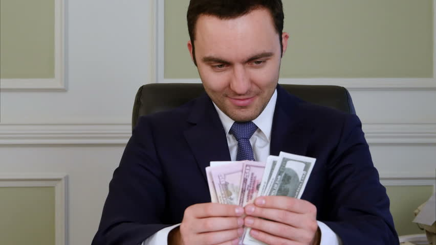 Evil satisfied business counting money