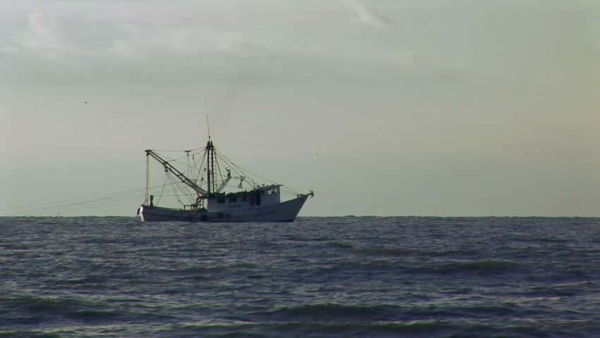 A fishing boat trawling for shrimp in the early evening light.