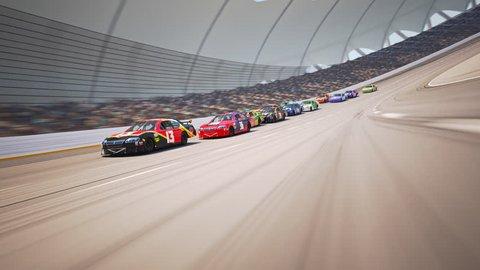 02612 Race Car Speeding Along The Curve Racetrack