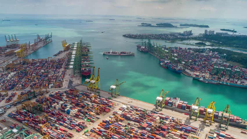 Singapore Aerial timelapse port Day
