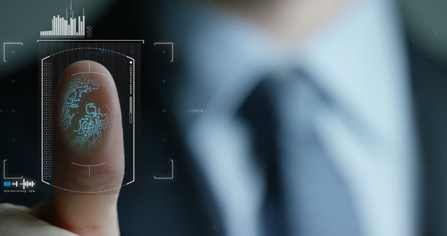 Businessman scan fingerprint biometric identity and approval. concept of the future of security and password control through fingerprints in an immersive technology future and cybernetic, business | Shutterstock HD Video #24688256