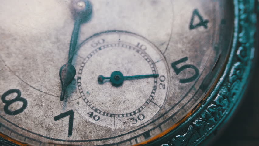 Vintage pocket watch.Old vintage clock mechanism watch time going fast. Antique clock dial close-up. A macro closeup of an vintage clock,clock mechanism working, closeup shot with soft focus