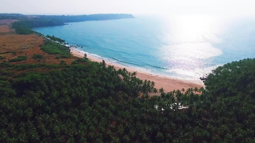 Aerial view of beach in Goa, India, Cabo de rama. | Shutterstock HD Video #24702659