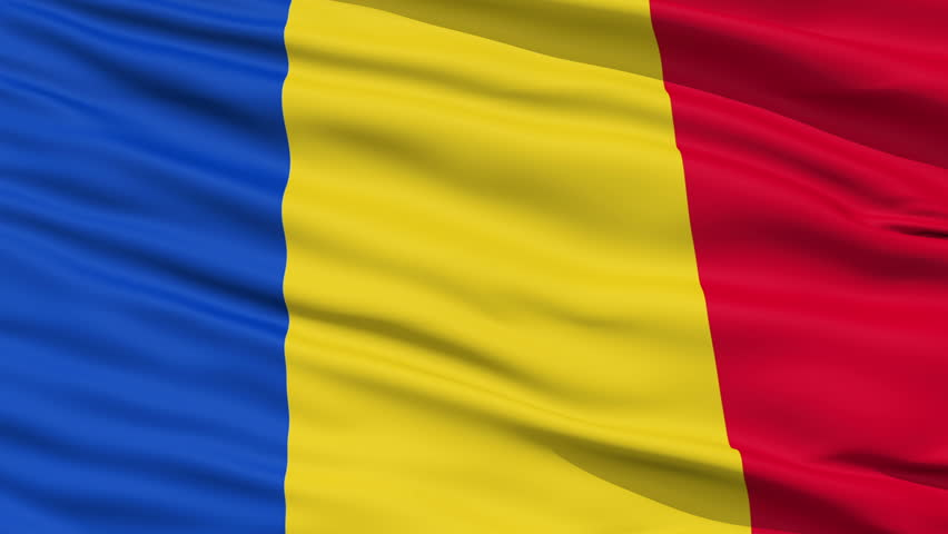 Closeup cropped view of a fluttering national flag of Romania