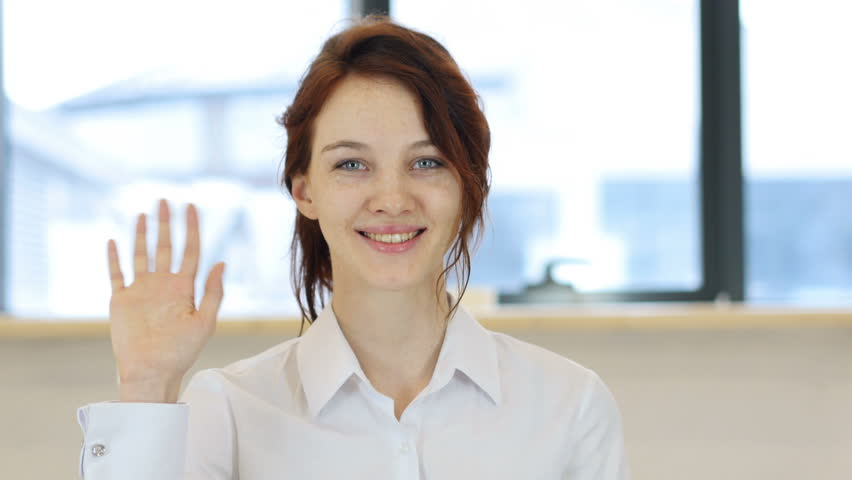 Hello, Woman Waving Hand | Shutterstock HD Video #24824879