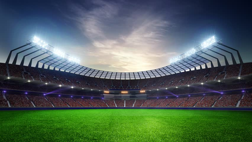 Stadium Moving lights, animated flash  with people fans. 3d render illustration cloudy sunset | Shutterstock HD Video #24828737