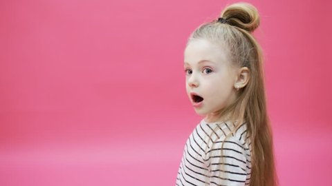 Young girl surprised with open mouth