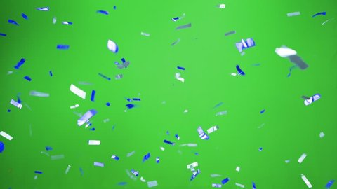 Real Confetti falling  soft and beautiful in the colors light blue and blue with  Green screen for party and celebrations