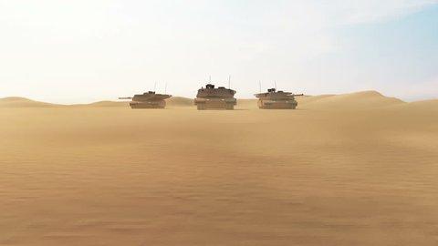 4K Animation of Group of Heavy Military Tanks Movin in Desert Landscape