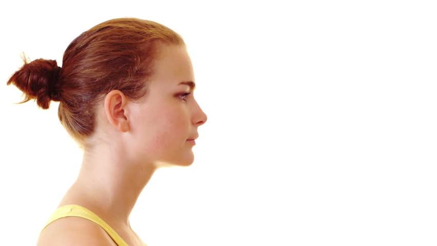 Young woman doing  shhh, secret concept