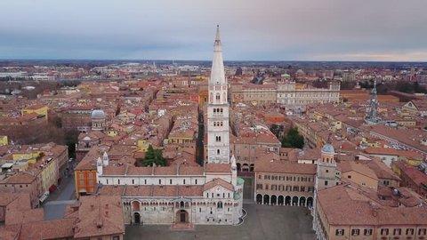 modena aerial shot of main square piazza grande flying sideways