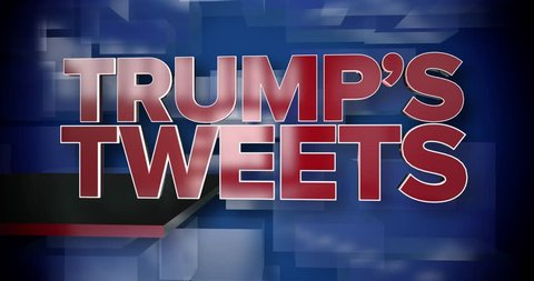 A red and blue dynamic 3D Trump's Tweets news title page animation. May be used as a title page for a President Trump news story.