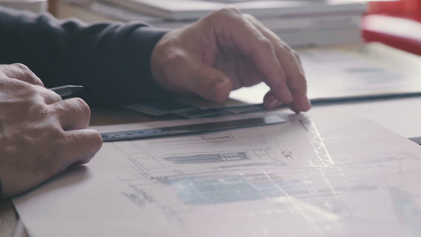 Male architect at work. Architect Hands. Ruler and a pencil in the hand of the architect. Design of the house. Engineer. Tools for drawing. Creating a drawing. Architecture. | Shutterstock HD Video #25053329